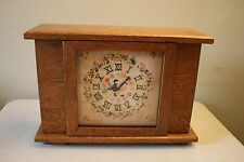 Beautiful Vintage Wooden Mantle Clock W/ Embroidery Needlework Clock Face