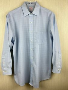 Brooks Brothers Mens 16 2/3 Blue Long Sleeve Button Up Dress Shirt Non Iron 346