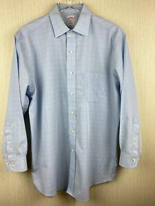 Brooks Brothers Mens 16 2/3 Blue Long Sleeve Button Up Dress Shirt Non Iron 346