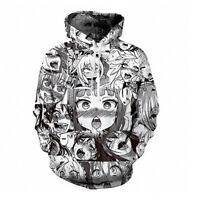 Ahegao Face Hoodie Mens Sweatshirt Anime 3D Printed Hentai Manga Jumper Pullover