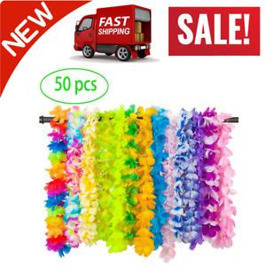 Party Favors Tropical Hawaiian Necklace Silk Flower Leis Party Decor 50 PCS
