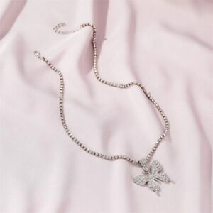 Butterfly Pendant Necklace Rhinestone Chain Women Bling Crystal Choker ^ Chic