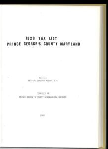 1828 Tax List Prince George's County Maryland history genealogy Chesapeake