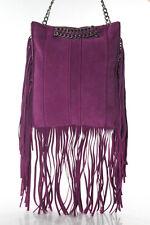 Ramy Brook Purple Suede Stevie Fringe Messenger Handbag Size Medium