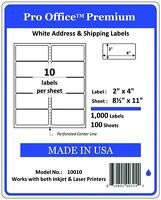 """PO10 1000 Sheets/10000 Labels 2"""" x 4"""" Pro Office Self-Adhesive Address Label"""