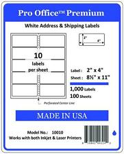 "PO10 1000 Sheets/10000 Labels 2"" x 4"" Pro Office Self-Adhesive Address Label"