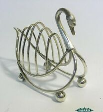 Novelty English Silver Plated Swan Form Five Bars Toast Rack