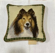 Shetland sheepdog Sheltie colorful needlepoint 10� l accent pillow