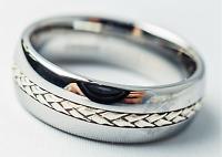 Tungsten Carbide Wedding Band Men's Women's Tungsten Wedding Ring,Silver Inlay