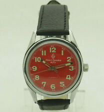 Vintage Henri Sandoz & Fils Red Dial Hand-Winding Swiss Black Leather 33mm Watch