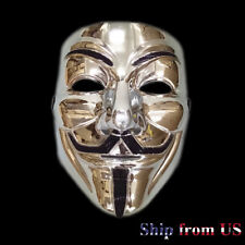 2 Pack of V for Vendetta Silver Mask Fawkes Anonymous Halloween Cosplay Costume