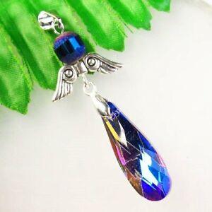 M98901 Faceted Blue Titanium Crystal Teardrop Tibetan Silver Wing Pendant