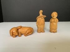 Vintage Hand Carved Wood Hillbilly Couple With Dog 3 Piece Set