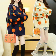 2020 Fashion Women's Girl Fruit Jacquard Pullover Loose Knitted Sweater Cardigan