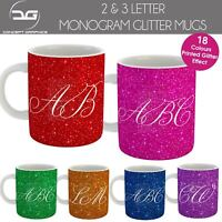 Personalised Monogram Text Custom Name Print Glitter Effect Coffee Mug Cup Gift