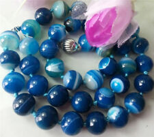 "18"" Natural 8mm Blue Striped Agate Onyx Gemstone Round Beads Necklaces"