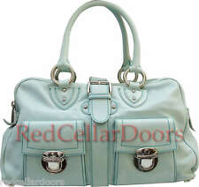 Auth MARC JACOBS  VENETIA Satchel Mint Seafoam Green Leather Silver Hdwr Handbag