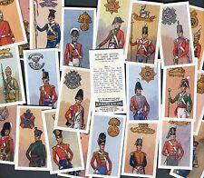 """BOOTH TEA 1967 SET OF 25 """"BADGES & UNIFORMS FAMOUS BRITISH REGIMENTS"""" TEA CARDS"""