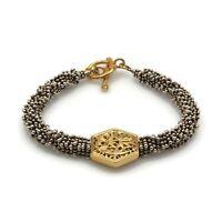Vintage Silver Tone Granulated Gold Tone Octagon Beaded Fashion Bracelet Sz 6.5