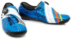 Bont Helix Carbon Road Bike Shoes EU 42 US Men 8 Metallic Blue 3 Bolt Race Boa