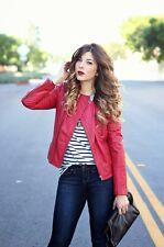Stunning ZARA red studded leather jacket size 10 - 12