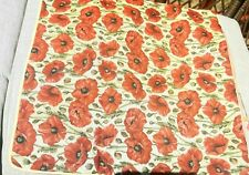 """Signare Tapestry Pillow Cover Poppy 17"""" Square Red New!"""
