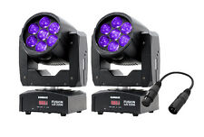 2 x Equinox Fusion 120 Zoom 7 x 12W LED Moving Head RGBW Quad-Colour & DMX Lead