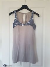 SOUTH MARL GREY SPARKLY EMBELLISHED SILVER SEQUIN TRIM LONGLINE TOP TUNIC DRESS