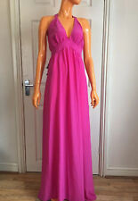 Alice By Temperley Fuschia Pink Halter Neck Elora 100% Silk Maxi Dress UK10 NWT