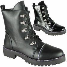 Mujer Punk Góticas Diamante señoras Tachonado Botas al Tobillo Zapatos Con Cordones De Moda Talla