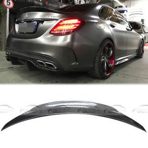 Carbon Fiber Rear Spoiler Wing Lip For Mercedes Benz W205 C63 C300 C400 Sedan 4D