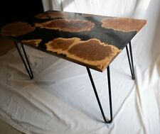 Handmade Australian Red and Brown Mallee Burl Epoxy Table With Hairpin Legs