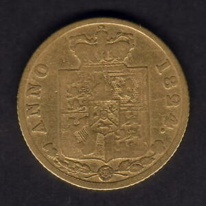 Great Britain. 1824 George 1111 - Half Sovereign..  F/aF