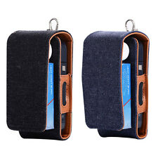 For iQOS Electronic Cigarette Kit Leather Hybrid Canvas Case Pouch Bag +Keychain
