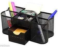 Desk Organizer Black Mesh Metal Desktop Office Pen Pencil Holder Storage Tray