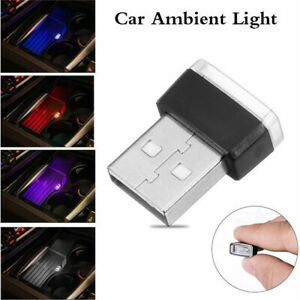 3x Accessories Mini USB LED Car Interior Light Neon Atmosphere Ambient Lamp Bulb
