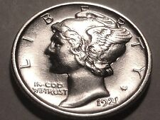 1921-P Mercury Dime * Nice BU Split Bands *