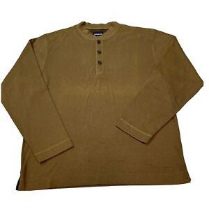 Patagonia Mens Medium Corduroy Henley Long Sleeve Shirt - Brown
