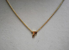 14K SOLID YELLOW GOLD INITIAL NECKLACE ON 14K CABLE CHAIN - LETTER P