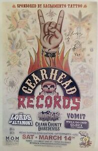 Gearhead Records Sac Tattoo Lady Luck Reno Convention Poster Signed Cuz'n Bill