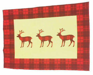 2 Pack Tea Towels Wild Tartan Novelty Gift Christmas Stag Reindeer Check Red