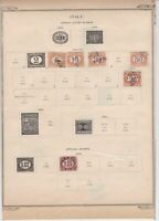 italy unpaid  letter and officials stamps on album page ref r11835