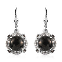 Platinum Over 925 Sterling Silver Karelian Shungite Zircon Drop Earrings Ct 5.9