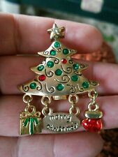 Lovely Gold Tone Christmas tree Charm Pin Brooch Merry