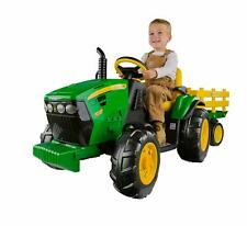 John Deere Farm Tractor w/ Trailer, 2 speeds & Reverse, for beginners Kids Gift