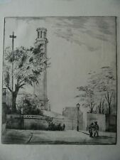 The Standpipe Tower, Kew Bridge. Edwardian Etching. Unknown Artist