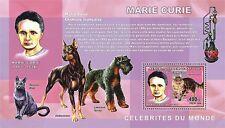 Marie Curie Sklodowska cats dogs Nobel Congo DR s/s Yvert 1737 MNH #CDR0630a