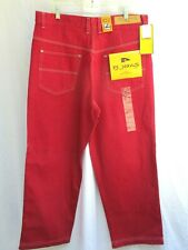 "Vtg 90'S.Hip Hop.Baggy.Red.Denim.Jeans .New Old Stock.38"" X 30"""