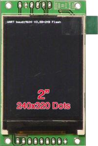 "2.0"" 320x240 Serial:UART/I2C/SPI TFT Display+2MB Flash for Arduino/ESP8266/PIC"