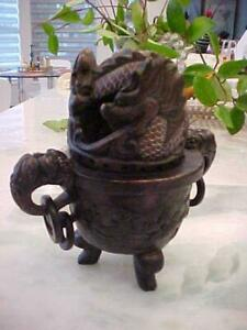 RARE ANTIQUE CARVED DRAGON 2 PIECE SOAPSTONE 3 FOOTED INCENSE BURNER w/ HANDLES